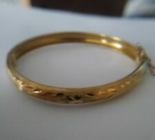 "Vintage Solid 18k Yellow Gold Hinged Bangle 5"" Baby Bracelet"