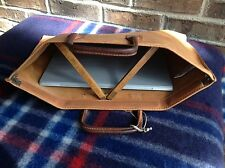 RARE VINTAGE 1980's BRITISH TANNED LEATHER MINIMALIST SIMPLE BRIEFCASE BAG $298