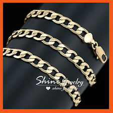 18K GOLD GF DIAMOND CUT SOLID 8MM CURB RING LINK CHAIN MENS WOMENS NECKLACE 60cm