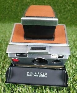 POLAROID SX-70 SLR Land Camera Silver & Tan **SEE discription**
