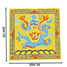 Large Dragon Chinese Patch sewing Bright Colours Black Satin Back Sew 444