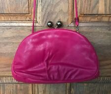 Vintage Shirl Miller Cross Body or Clutch Leather Purse, Fuchsia, Small, Soft