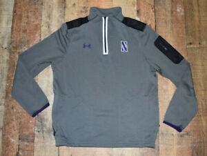 Men Northwestern Wildcats Under Armour 1/4 Zip Jacket Gray Medium Polyester B64