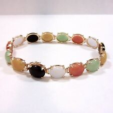 Vintage 14K Yellow Gold Multicolor Jade Oval Cabochon Link Bracelet - 7 inches