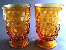 "Set of 2 Vintage Amber Glass Tumblers 4"" Tall By Colony in the Whitehall pat (C1"