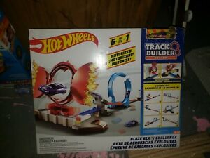 Hot Wheels Track Builder Blaze Blast Challenge Motorized Mover 6 Stunts in 1 NIB