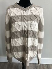 Weatherproof Vintage Chunky Knit Cable Sweater Striped Size L Womens Cream