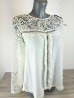 NLY Lace Crochet  Blouse White Top Long sleeve Lace up Back BNWT Size M B332