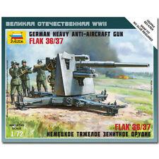 Zvezda 6158 alemán 88mm Flak 36/37 Snap Fit Kit Modelo 1:72