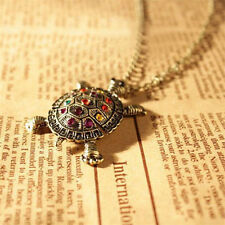 Rusty Used Old Broken Vintage Turtle Pendant Long Sweater Necklace Chain