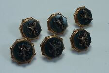 Vintage 18K Gold and Bloodstone Buttons with Heraldic Lions set of 6