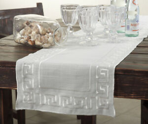 Fennco Styles Embroidered Greek Key 16x72 Inch Ivory Table Runner