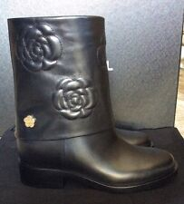 NWB CHANEL Camellia Calfskin Flower Mid Calf Boots Black $1600