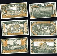 6x Notgeld Gutscheins Gemeine HUSBYHOLZ  div. Motive 50 Pf 1921 numeriert