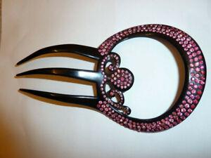 Art Deco 1910-1920 Hair Comb Black Celluloid/Pink Rhinestones Signed Kroko Swiss