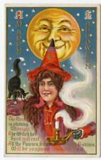 Halloween Attributed to Winsch Large Moon Black Cat Red Witch
