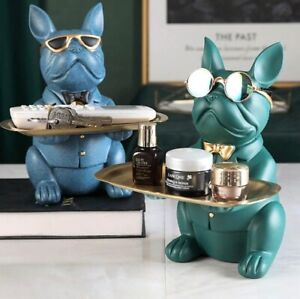 Bulldog Sculpture Dog Figurine Statue Key Jewelry Storage Table Decoration