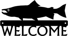 Salmon Fish Metal Art Welcome Sign Plaque Natical Angler Camp Decor Gifts NEW