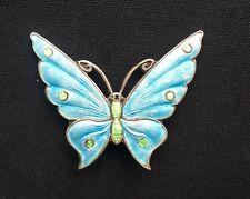 Vintage Silver & Turquoise Enamel Butterfly STUNNING Jewellery