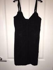 Karen Millen Black Schirred LBD Party Braided Straps Dress size 12 NEW RRP £170