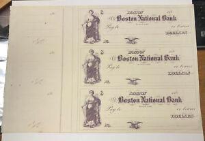 1860s Boston National Bank MA - Uncut Remainder Sheet of 3 Bank Checks