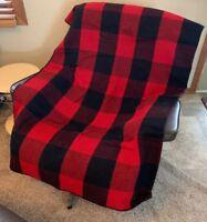 "Northwest Marlboro Country Wool Blanket No Odors Red Black Plaid 72"" X 60"" Clean"