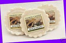 3 Yankee Candle BEACH WOOD Beige Wax Tarts Mini Small Candle apprx. 8 hrs ea