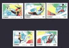 Football Congo (12) série complète 5 timbres oblitérés