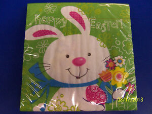Hoppy Bunny Easter Rabbit White Cute Theme Holiday Party Paper Luncheon Napkins
