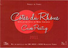 Etiquette de vin - Côtes du Rhône - Cuvée prestige - 2011