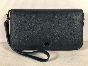 Dolce & Gabbana Navy Saffinao Leather Women's Double Zip Wrist Wallet Clutch