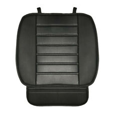 Universal Car Seat Cover Black PU Leather Driver or Passenger Cushion w/ Pouch