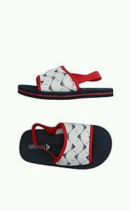NEW Armani Junior toddler boys blue red white eagle logo swim sandals 26 US 10