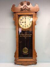 """Antique Oak Mercantile Clock by New Haven Clock Co. 47.5""""T"""