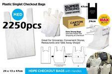 2250pcs Plastic Singlet Shopping Carry Checkout Bag Medium 24cmx13cmx47cm White