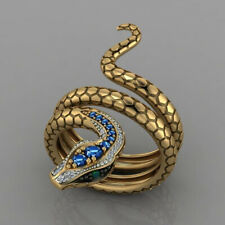 Fashion Snake 18k Yellow Gold Plated Rings for Men/Women Blue Sapphire Size 6-10