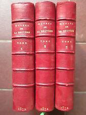 LA BRUYERE : OEUVRES COMPLETES, 1872. 3 volumes demi maroquin rouge.