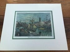 """victorian mounted wood engraving titled  """" bristol from st augustines quay """""""