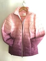 Bon Prix PINK BERRY RED plum QUILTED padded DIP DYE parka jacket coat UK 26 56