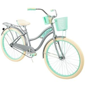 "Huffy Nel Lusso Classic Cruiser Bike Perfect Fit Frame Women 26"" Gray Green New"