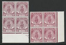 Perak 1950-56 George VI 10c Purple & Brown-purple in blocks SG 136-136a Mnh..