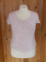 VIYELLA pastel pink salmon white floral v neck short sleeve tunic blouse top 16