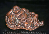"2.8"" Ancien Chine Buis Sculpté Feng Shui Rire Heureux Maitreya Bouddha Sculpture"
