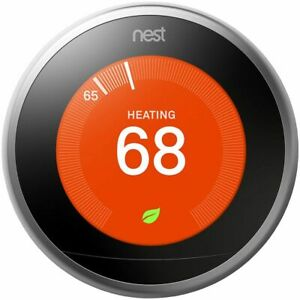 Google Nest 3rd Generation Smart Learning Thermostat - Wi-Fi - Stainless Steel