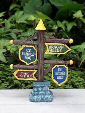 Miniature Dollhouse FAIRY GARDEN ~ MEDIEVAL TIMES Directional SIGN Wood Shire