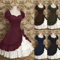 Medieval Renaissance Women Lolita Ruffle Short Sleeve Princess Dress Costume