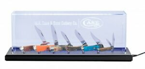 Case xx Illuminated Dome Knife Display Stained Walnut Wood & Plexiglass 70632