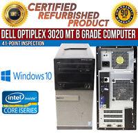 Dell OptiPlex 3020 MT Intel i5 8GB RAM 500GB HDD Win 10 USB VGA B Grade Desktop