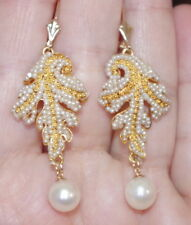 ANTIQUE GEORGIAN 22K GORGEOUS PAISLEY SEED PEARL DANGLE LEVER BACK EARRINGS
