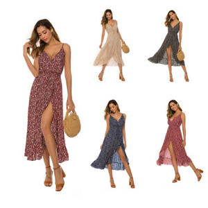 UK Sexy Dresses for Womens Floral Ladies Dress Beach Clothing Plus Size